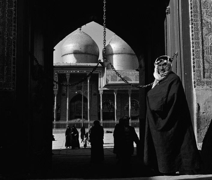 IRAQ. Baghdad. The front entrance to the Al Kadhimain Mosque. 1952