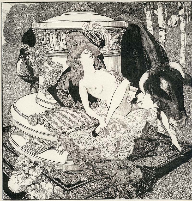 Europa y Zeus como toro en el dibujo de F. von Bayros